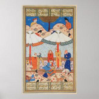 The Fainting of Laylah and Majnun Nizami's Khamsah Poster