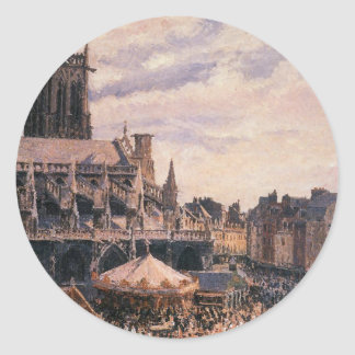 The Fair by the Church of Saint Jacques, Dieppe Classic Round Sticker