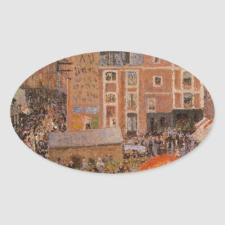 The Fair, Dieppe Sunny Afternoon  Camille Pissarro Oval Sticker