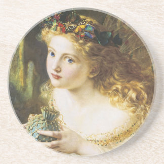 The Fair Face of Woman by Sophia Anderson Sandstone Coaster