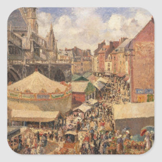 The Fair in Dieppe, Sunny Morning, 1901 Square Sticker