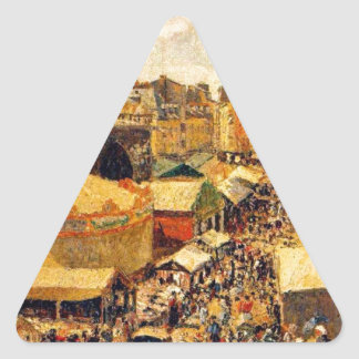The Fair in Dieppe, Sunny Morning by Camille Pissa Triangle Sticker