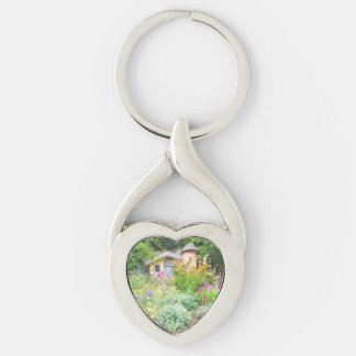 The Fairy Cottage Silver-Colored Heart-Shaped Metal Keychain