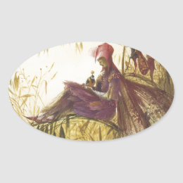 The Fairy Falconer Bird Oval Sticker