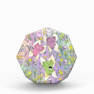 The Fairy Nekos of Spring with a Floral Background Acrylic Award