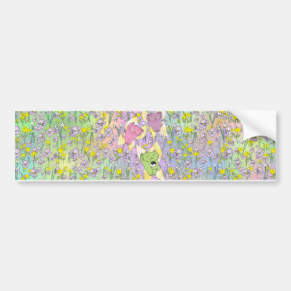 The Fairy Nekos of Spring with a Floral Background Bumper Sticker