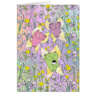 The Fairy Nekos of Spring with a Floral Background Card
