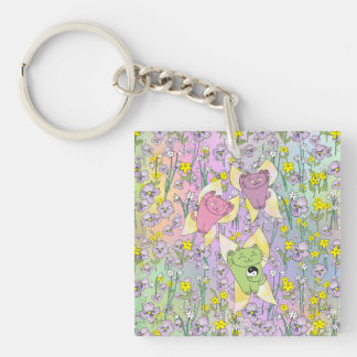The Fairy Nekos of Spring with a Floral Background Keychain