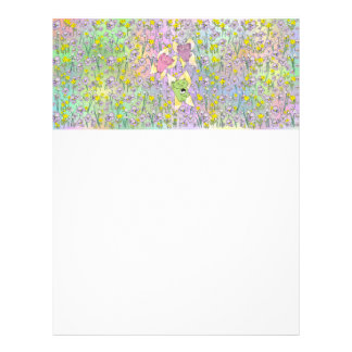The Fairy Nekos of Spring with a Floral Background Customized Letterhead