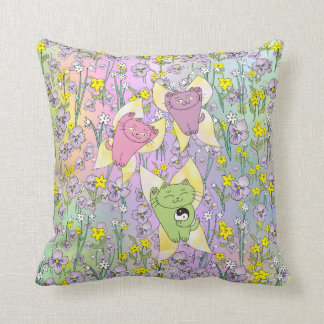 The Fairy Nekos of Spring with a Floral Background Throw Pillow
