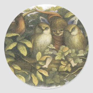 The Fairyland,1870 Fairy With Owls Classic Round Sticker