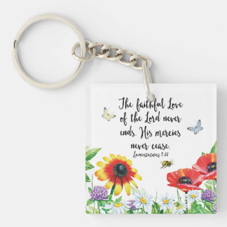 The Faithful Love of the Lord Never Ends Keychain