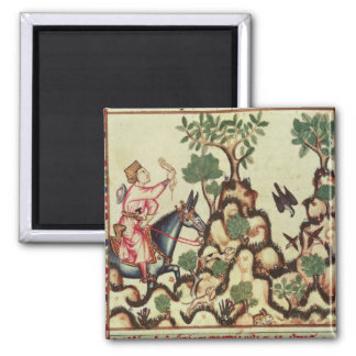 The Falcon Hunt, from the manuscript 2 Inch Square Magnet