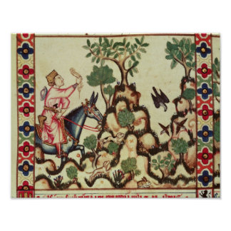 The Falcon Hunt, from the manuscript Poster