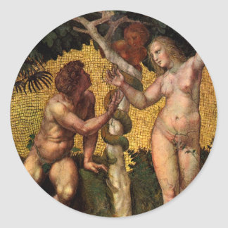 The Fall - Adam and Eve by Raphael Sanzio Classic Round Sticker