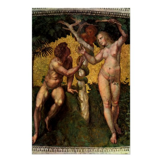 The Fall - Adam and Eve by Raphael Sanzio Poster