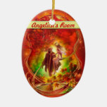 The fall fairy and prince Door hanger / room Double-Sided Oval Ceramic Christmas Ornament