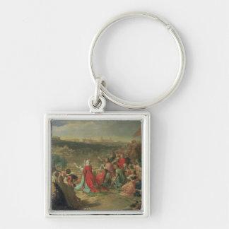 The Fall of Granada in 1492, 1890 Silver-Colored Square Keychain