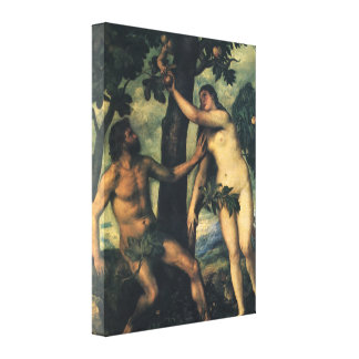 The Fall of Man; Adam and Eve by Titian Canvas Print