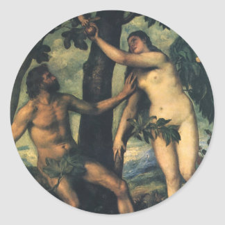 The Fall of Man; Adam and Eve by Titian Classic Round Sticker