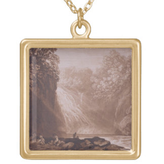 The Fall of the Clyde, engraved by Charles Turner Gold Plated Necklace