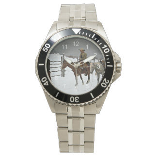 men s cowboy watches zazzle the fall of the cowboy painting by f remington watch