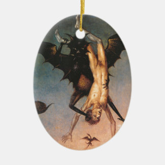 The Fall of the Damned. Dirik Bouts the Elder Double-Sided Oval Ceramic Christmas Ornament