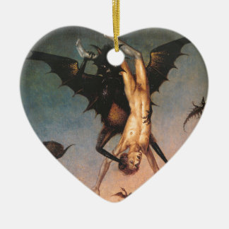 The Fall of the Damned. Dirik Bouts the Elder Double-Sided Heart Ceramic Christmas Ornament