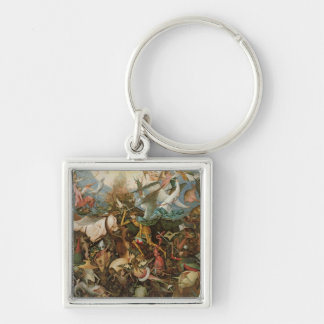The Fall of the Rebel Angels, 1562 Silver-Colored Square Keychain