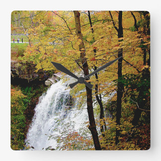 The Falls in Fall Square Wall Clock