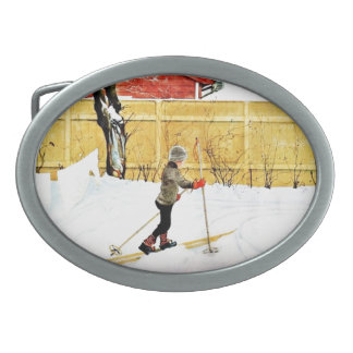 The Falun Yard - little boy on skis Belt Buckle