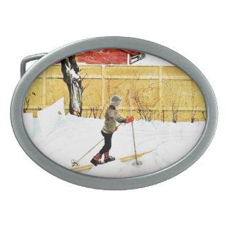 The Falun Yard - little boy on skis Oval Belt Buckles