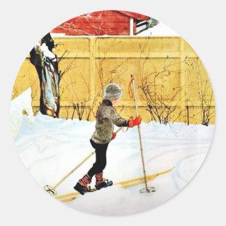 The Falun Yard - little boy on skis Classic Round Sticker