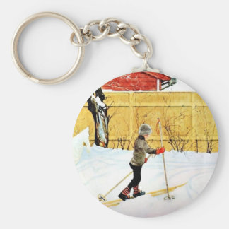 The Falun Yard - little boy on skis Keychain