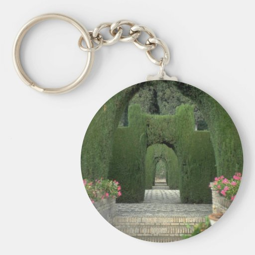 The famed gardens of the Alhambra, Granada, Spain Keychains