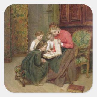 The Family Album, 1869 (oil on canvas) Square Sticker