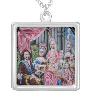 The Family of Emperor Peter I, the Great , 1717 Silver Plated Necklace