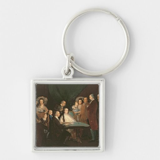 The Family of the Infante Don Luis de Borbon Silver-Colored Square Keychain