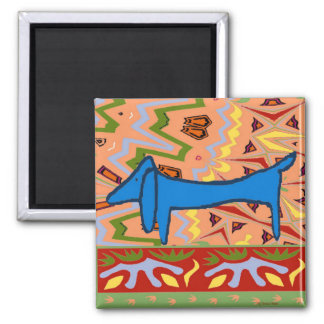 The Famous Blue Dachshund on Abstract Magnet