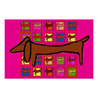 The Famous Dachshund Abstract Quilt Poster