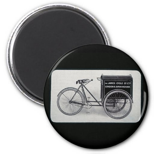 The Famous James Vintage Delivery Bicycle Refrigerator Magnet