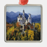 The fanciful Neuschwanstein is one of three Square Metal Christmas Ornament