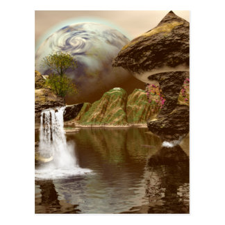 The fantasy world with planets postcard