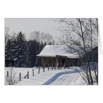 """The Farm in Winter"" greeting card"