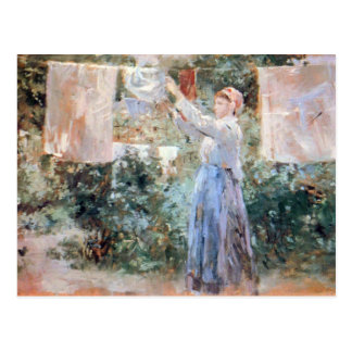 The farmer hanging laundry by Berthe Morisot Postcard