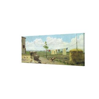 The Farmyard (oil on canvas) Canvas Prints