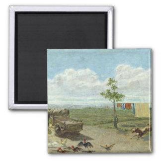 The Farmyard (oil on canvas) Magnet