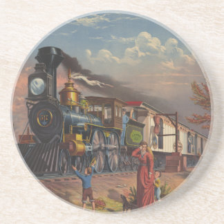 The Fast Mail Postal Service Train From 1875 Drink Coaster