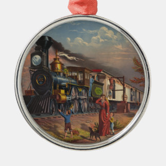 The Fast Mail Postal Service Train From 1875 Round Metal Christmas Ornament