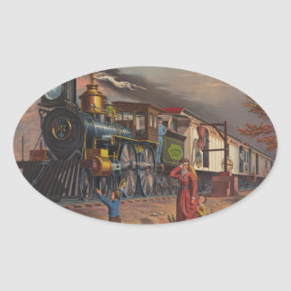 The Fast Mail Postal Service Train From 1875 Oval Sticker